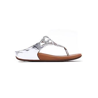 Women's Bumble Leather Toe-Post Sandals - Silver Mirror