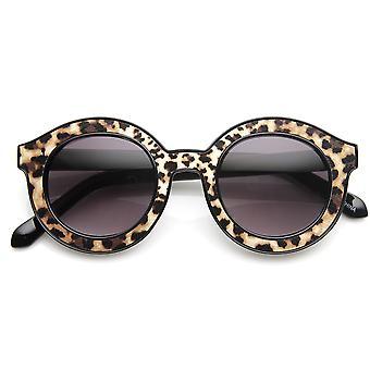 High Fashion blok snit mønster Print hornede fælg runde solbriller