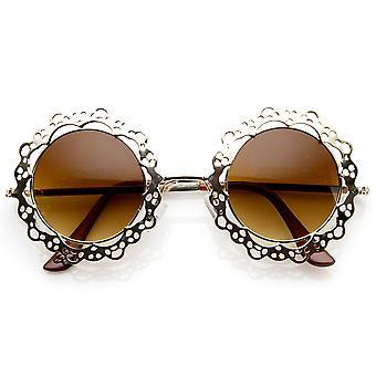 Womens Fashion Metal Cut-Out Lace Circle Round Sunglasses