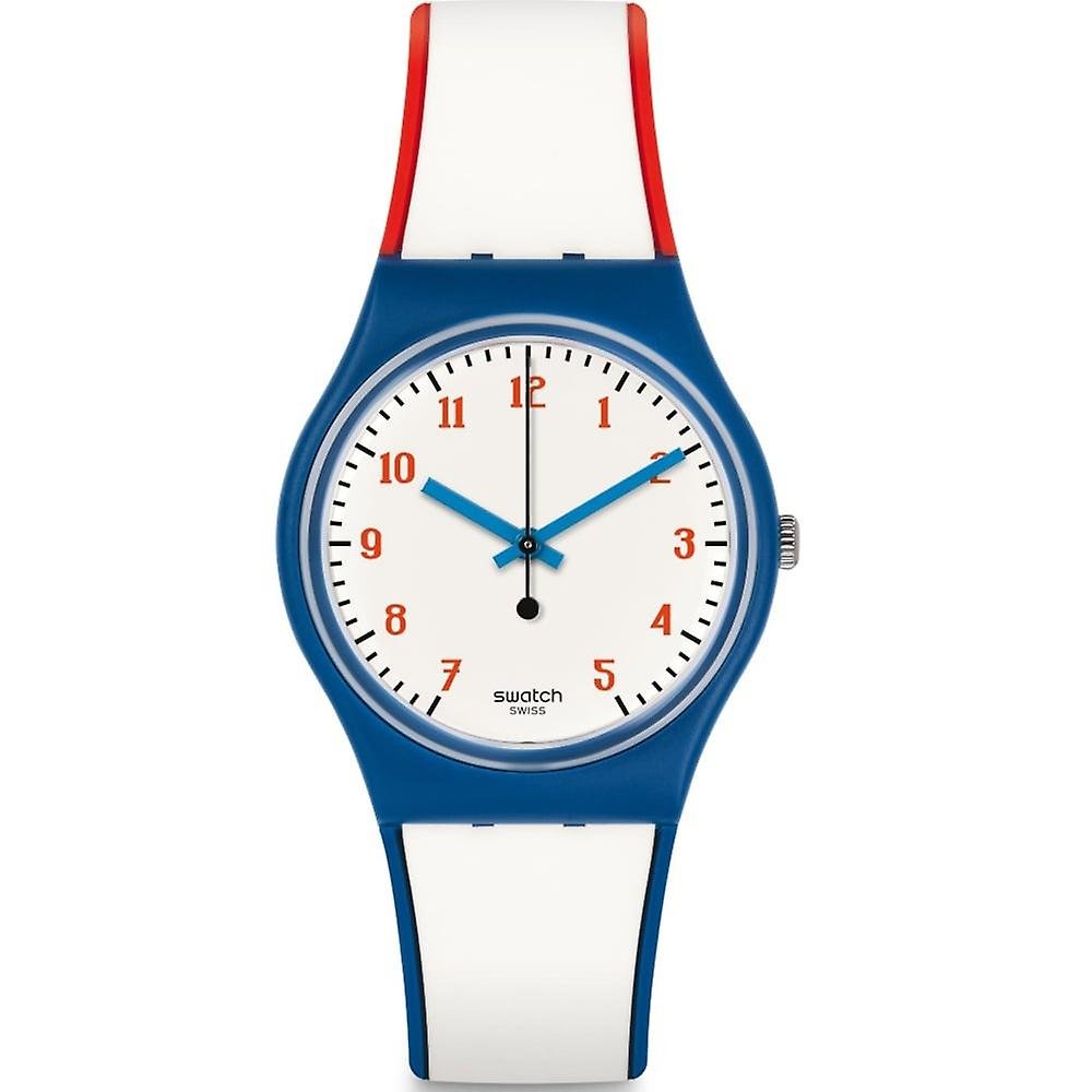 Swatch Gn248 Plein Gaz Red, Blue & White Silicone Watch