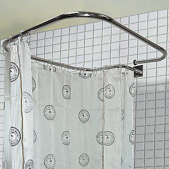 Stainless Steel Rectangular Shower Rail And Curtain Rings