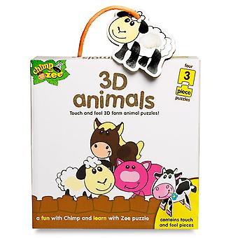 Chimp & Zee 3D Animals Puzzles (4 x 3 Pieces)