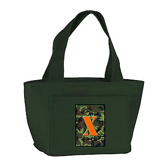 Letter X Monogram - Camo Green Zippered Insulated School Washable and Stylish Lu