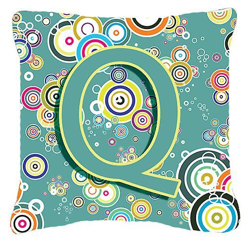 Lettre Q cercle cercle bleu sarcelle Alphabet Initial toile tissu oreiller décoratif
