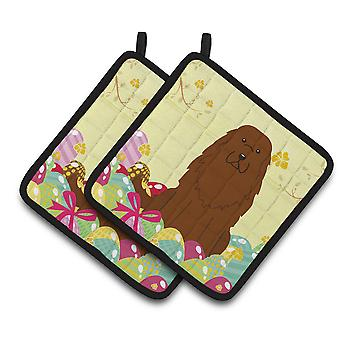 Easter Eggs Caucasian Shepherd Dog Pair of Pot Holders