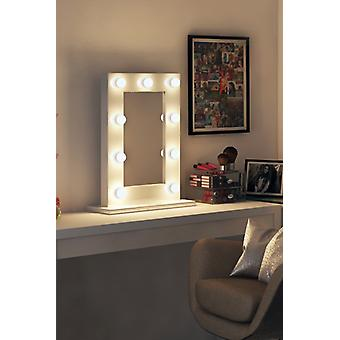 Diamond X Gloss White Hollywood Makeup Mirror with Dimmable LED k217CW