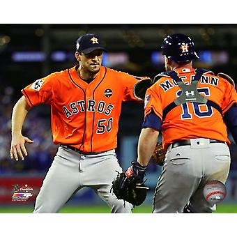 Brian McCann & Charlie Morton celebrate winning Game 7 of the 2017 World Series Photo Print