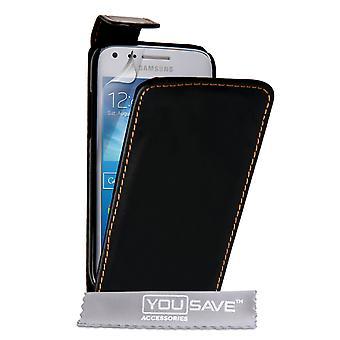 Samsung Galaxy Core Plus Leder-Effekt Flip Case - schwarz