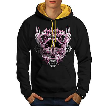 Total Mortal Skull Men Black (Gold Hood)Contrast Hoodie | Wellcoda