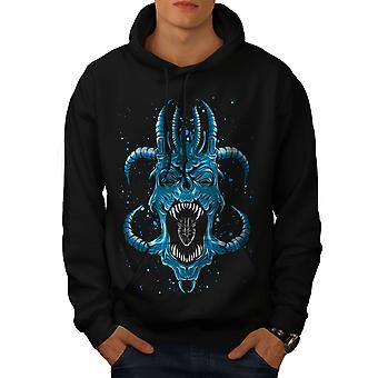 Azul Satanás Horror Fantasy hombres BlackHoodie | Wellcoda