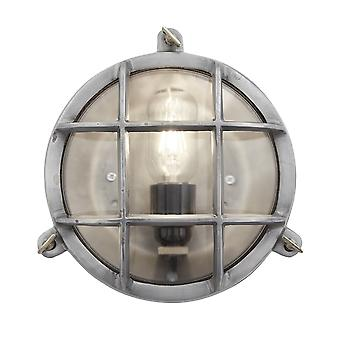Vintage Industrial Heavy Round Bulkhead Retro Wall Light - Light Pewter
