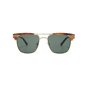 Gucci Vintage Web Metal Square Sunglasses In Light Havana Gold