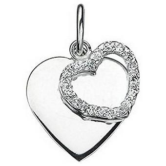 Beginnings Cubic Zirconia Double Heart Pendant - Silver/Clear
