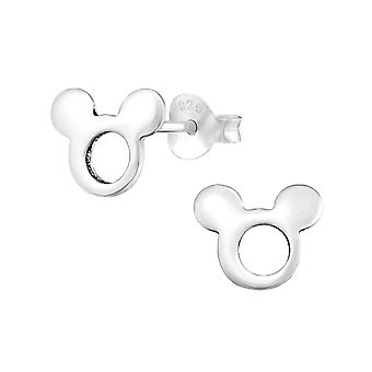 Mouse - 925 Sterling Silver Plain Ear Studs - W34926x