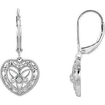 Sterling Silver Diamond Lever Back Heart Earrings .02ct