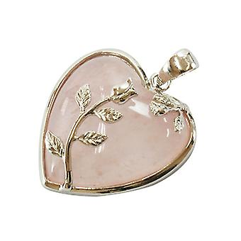1 x Pink Rose Quartz 35mm Leafy Heart Charm/Pendant HA01010