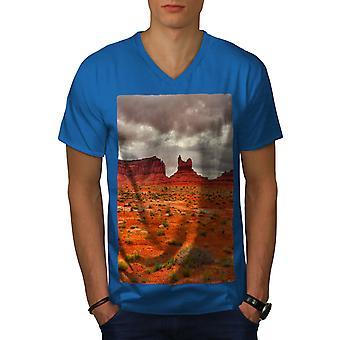 Red Desert Photo Men Royal BlueV-Neck T-shirt | Wellcoda