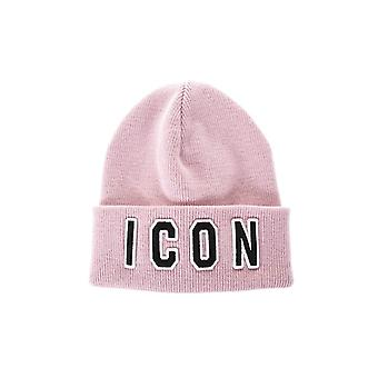 DSQUARED2 ICON PINK WOOL BEANIE