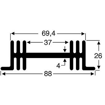 Heat sink 3.8 C/W (L x W x H) 50 x 88 x 26 mm Fischer Elektronik SK 36 50 SA