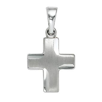 Small cross pendant cross 925 sterling silver rhodium partly frosted