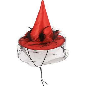 Feathers witch Hat cord red accessory Hat Carnival Halloween witch veil