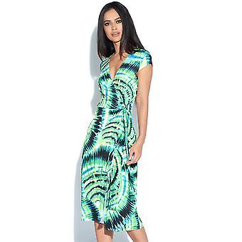 Green Print Wrap Dress