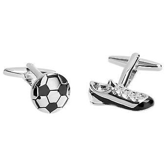 Zennor Football Boot and Ball Cufflinks - Black/White/Silver