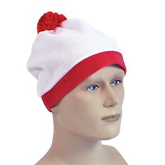 Bnov Bobble Hat White + Red Pom Pom