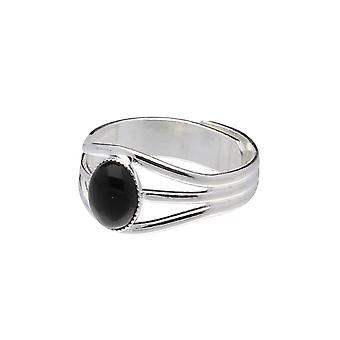 Handgemachte keltische 3 schwarzer Onyx Edelstein Zinn Bandring (einstellbar)