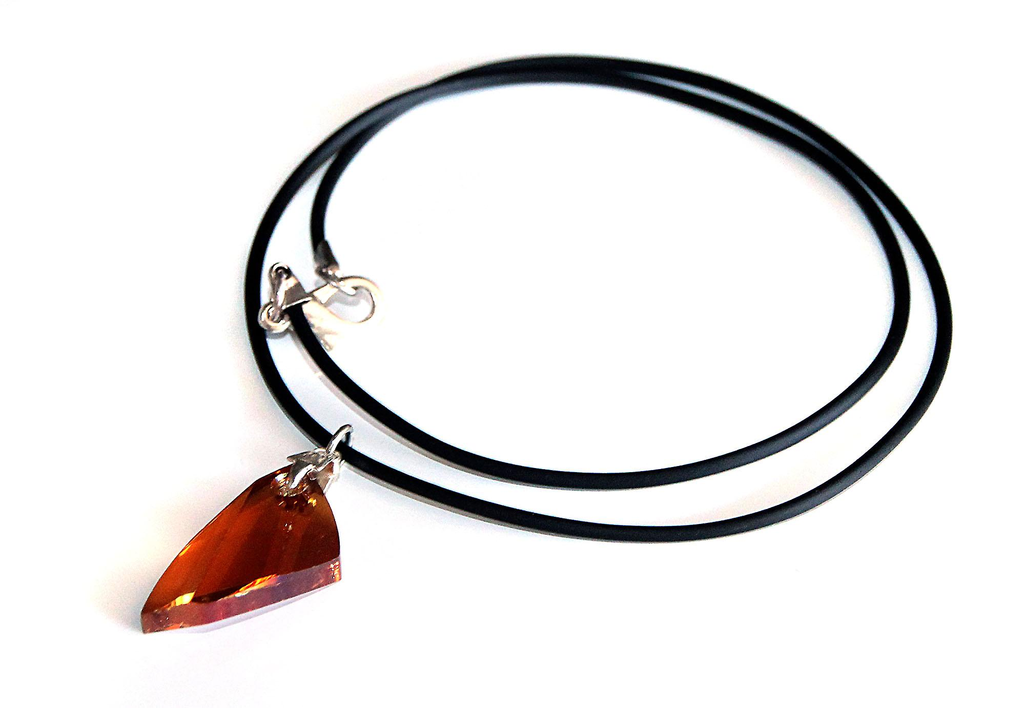 Waooh - Jewelry - Swarovski / Pendant amber wing and rubber cord