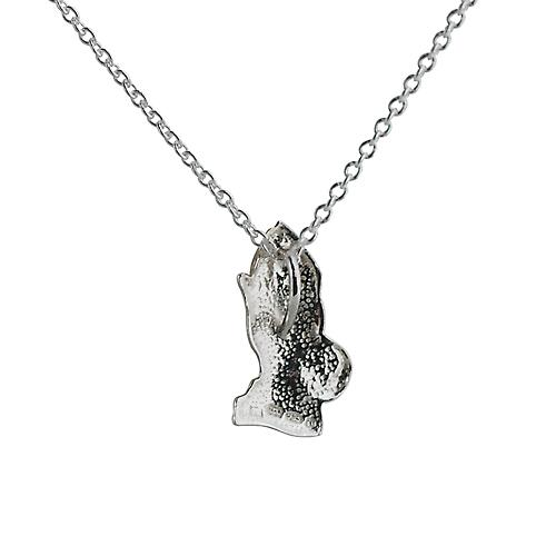 Silver 19x11mm Praying Hands Pendant with a rolo Chain 14 inches Only Suitable for Children