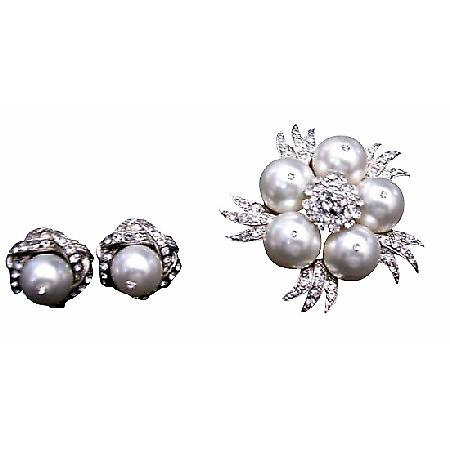 Pure White Pearls Brooch with Matching Stud Earrings Diamante Jewelry