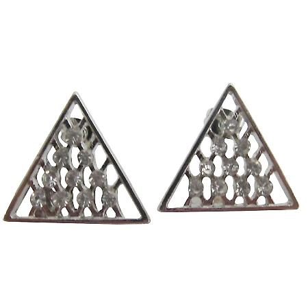 Silver Triangle Stud Earrings Rhinestone Cubic Zirconia Stud Earrings