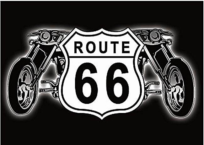 Route 66 Shield & Motorbikes steel fridge magnet  (ga)