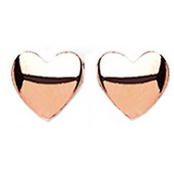 Bella Rose Heart Stud Earrings - Rose Gold