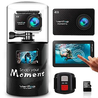 VanTop Moment 4 4K 20MP 30M wasserdichte Action-Kamera mit Touchscreen, Fernbedienung, EIS, Kingston MicroSD-Karte, leichten Rucksack, 2 wiederaufladbare Batterien