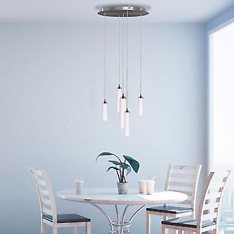 Industrial 5 Pendant Ceiling Stylish Glass Fixture Vintage Lamp Round Canopy New