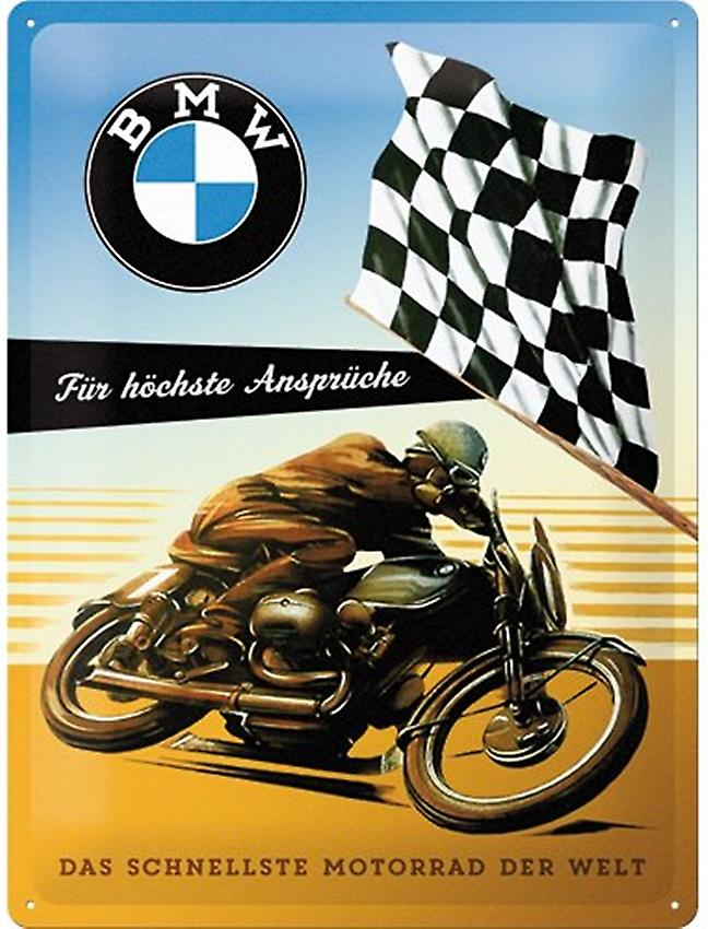 BMW Racing Bike large embossed steel sign   400mm x 300mm  (na)