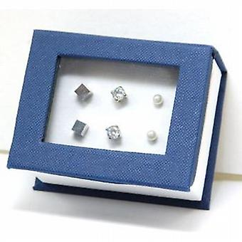 Carlo Gioielliere Simulated Pearl  Rhinestone & Cube Stud Earrings - 3 Pairs