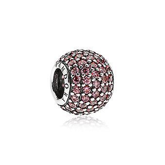 Pandora Pave Ball Silver & Pink CZ Charm 791051CZS