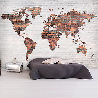 Bakgrund-världen karta: tegel vägg