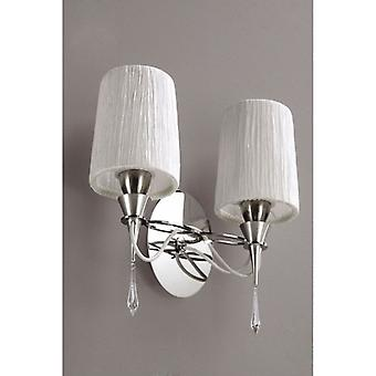 Lucca Wall lampa Switched 2 ljus E27, polerad krom med vita nyanser & Clear Crystal