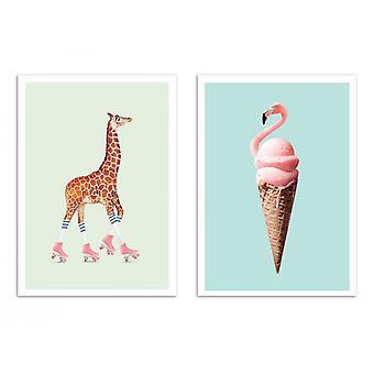 2 art-affischer 30 x 40 cm-Duo pop djur-Jonas Loose