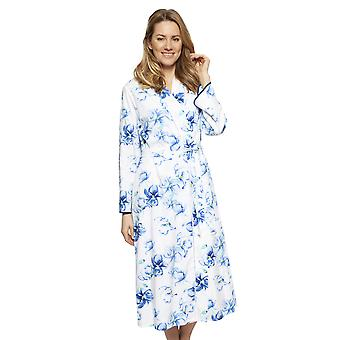 Cyberjammies 1318 Women's Nora Rose Thea Blue Mix Floral Cotton Long Robe