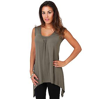 KRISP Womens Pleated Hanky Hem Vest Top