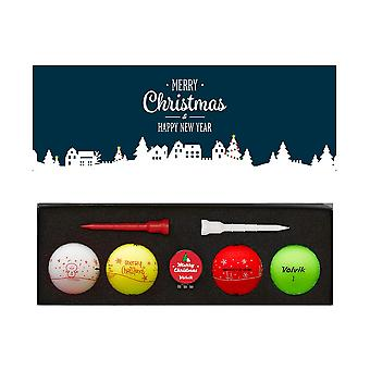 Volvik Vivid Merry Christmas & Happy New Year Pack 4 x Golf Balls Tees & Marker