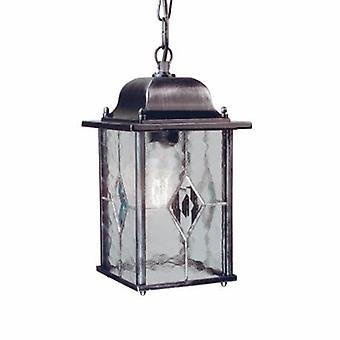 1 Light Outdoor Ceiling Chain Lantern Black Silver Ip43