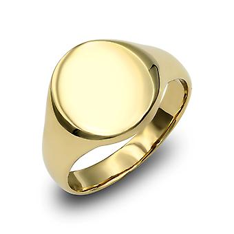 Jewelco London Men's Solid 9ct Yellow Gold Oval Signet Ring Jewelco London Men's Solid 9ct Yellow Gold Oval Signet Ring Jewelco London