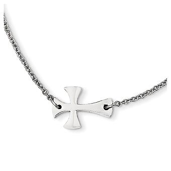 Stainless Steel Fancy Lobster Closure Polished Sideways Cross 16inch Necklace - 16 Inch