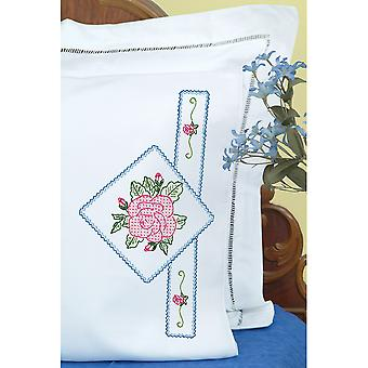Stamped Pillowcases W/White Perle Edge 2/Pkg-Rose 1600 569